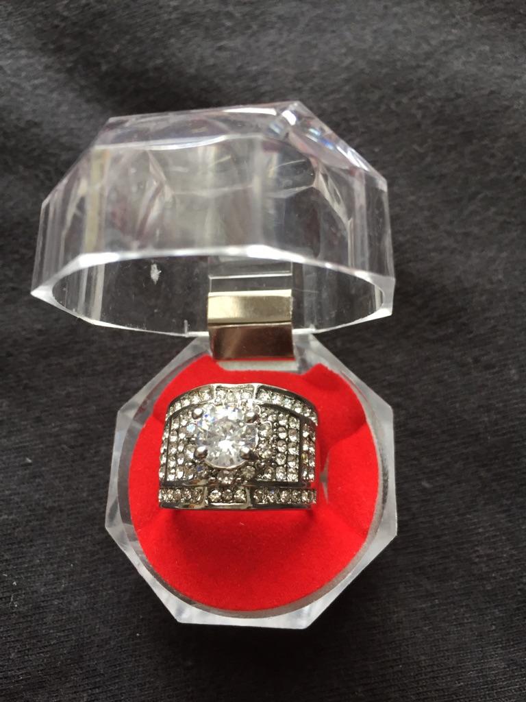 Gemstone diamond unisex ring size 6