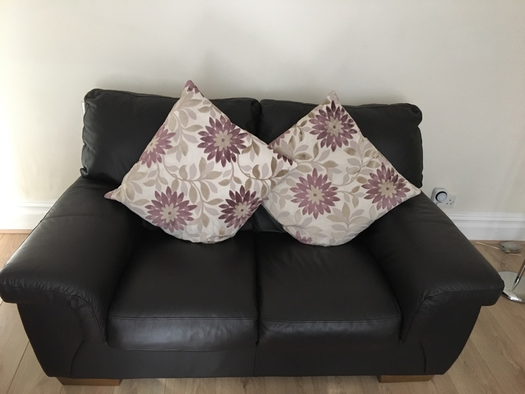 X2 2 seater brown leather couch