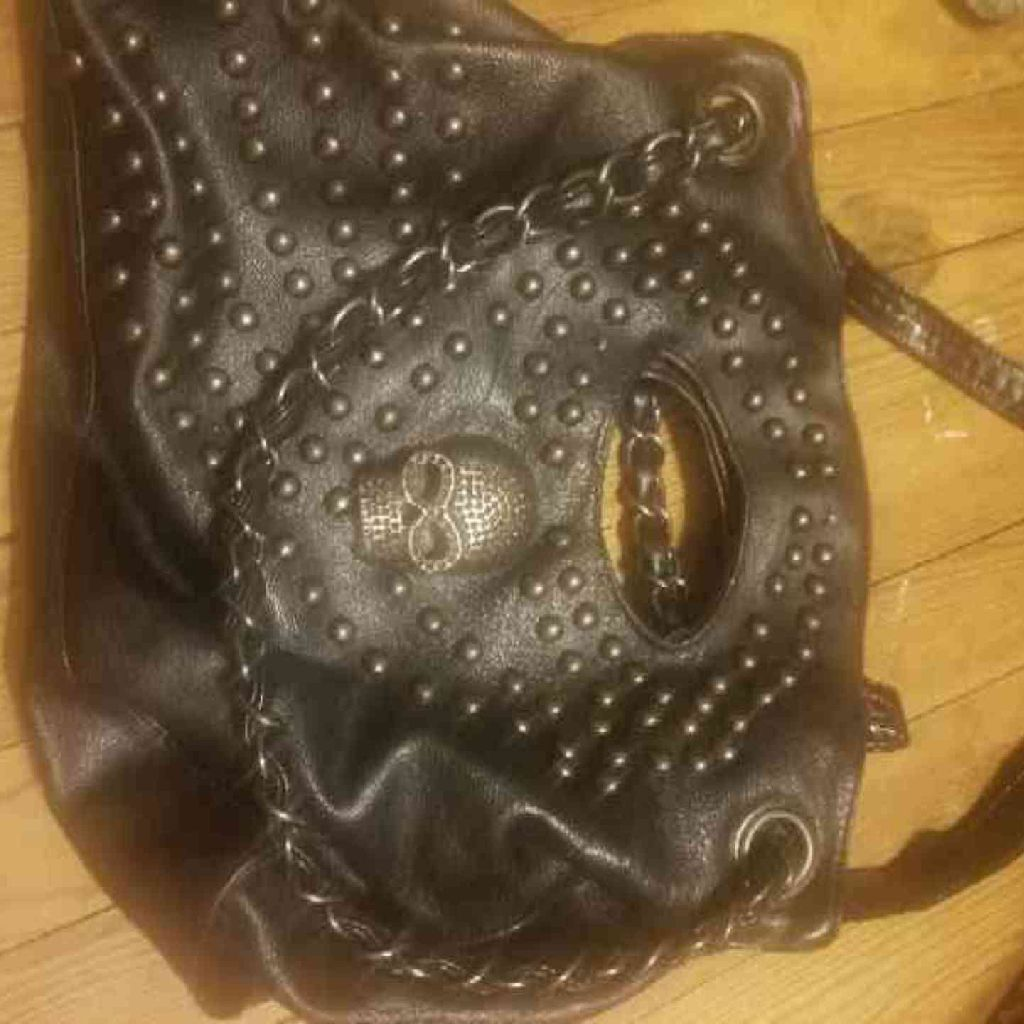Studded bag with skull and studs