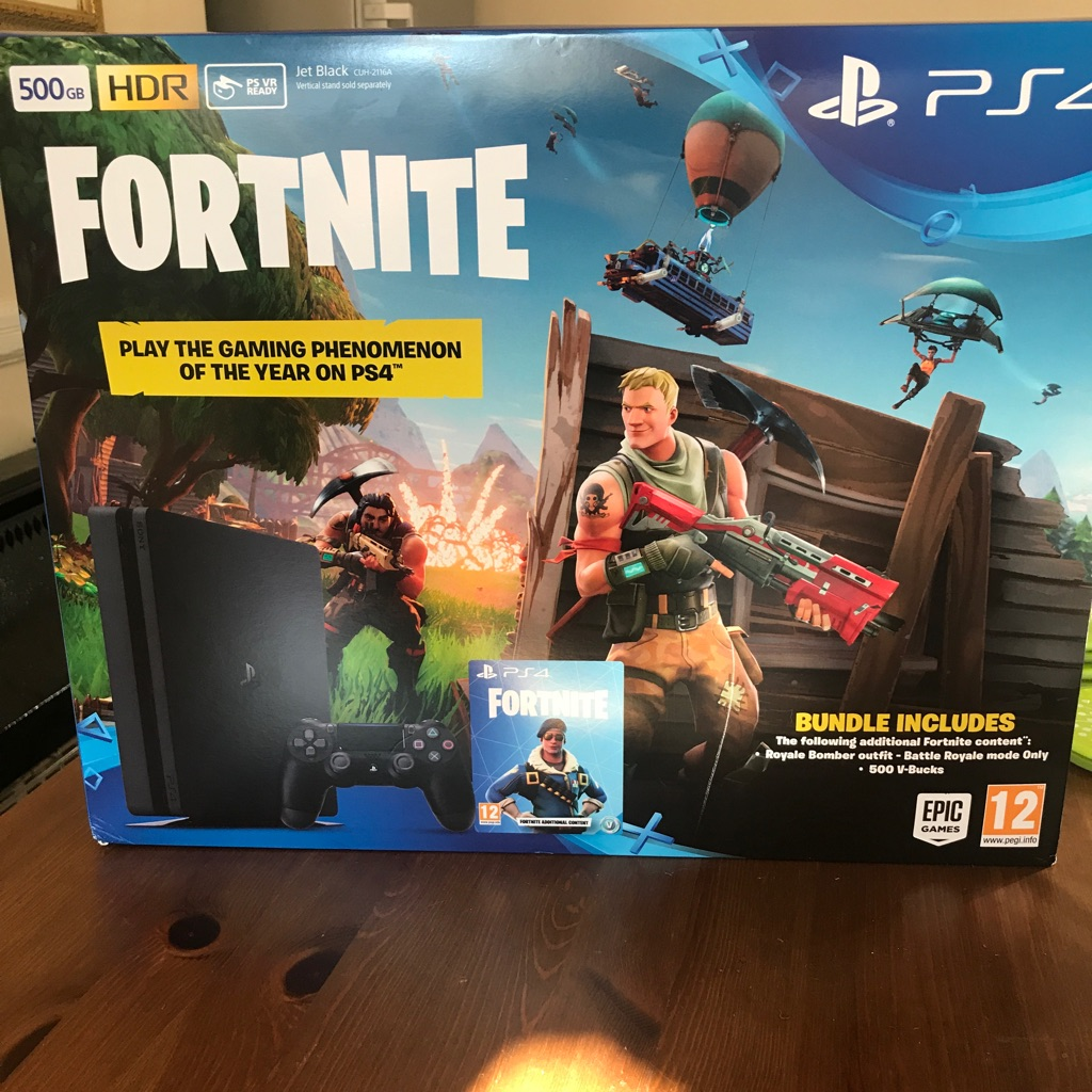 Unopened PlayStation 4 with fortnite