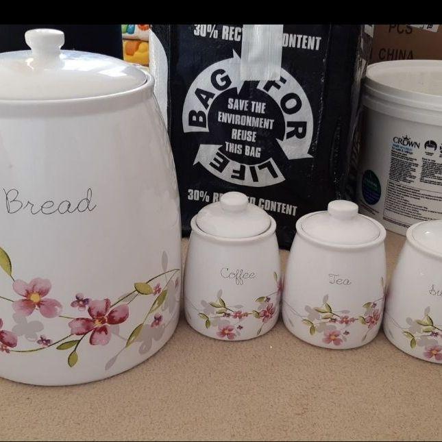 Breadbin, tea, coffee, sugar pots