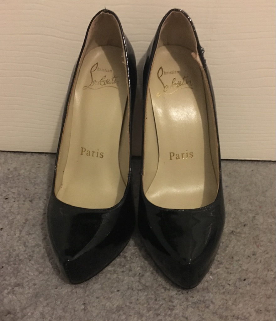 Ladies Black High Heels, Size 3, Classic Patent Christian Louboutins