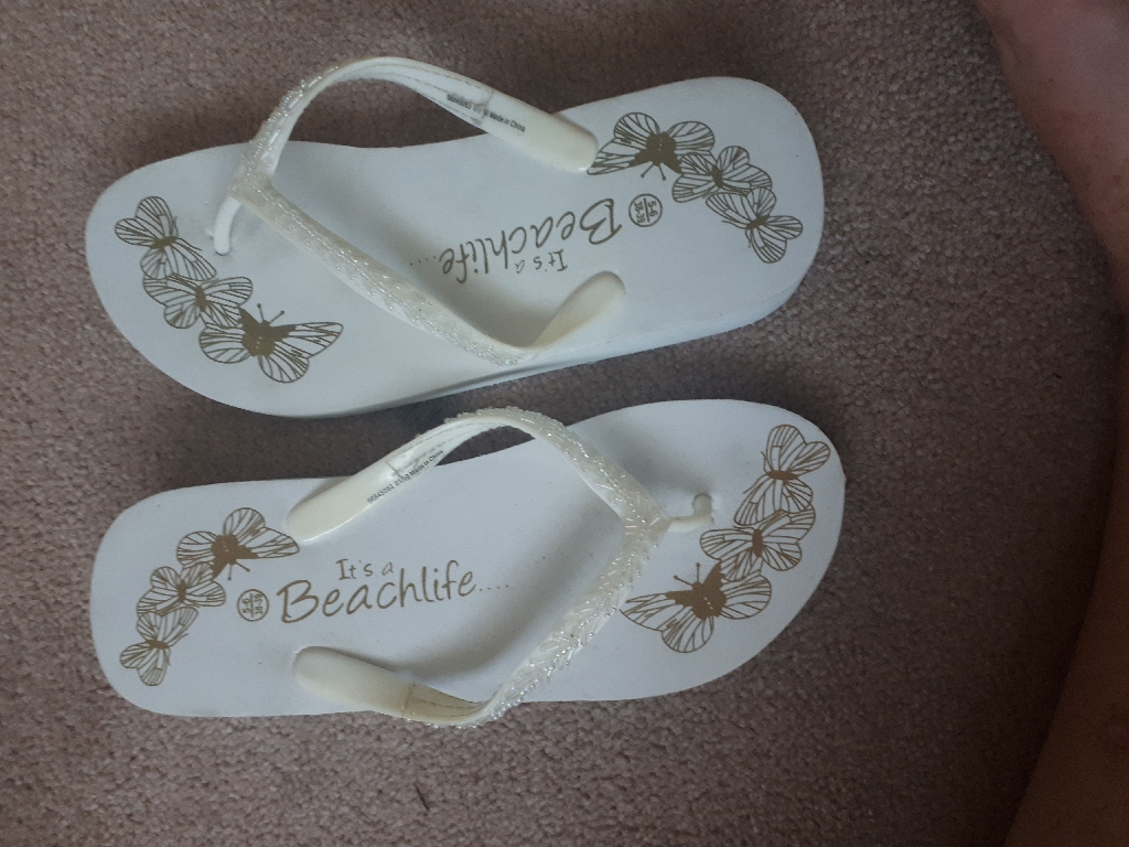 White Wedge Flip Flops Size 56