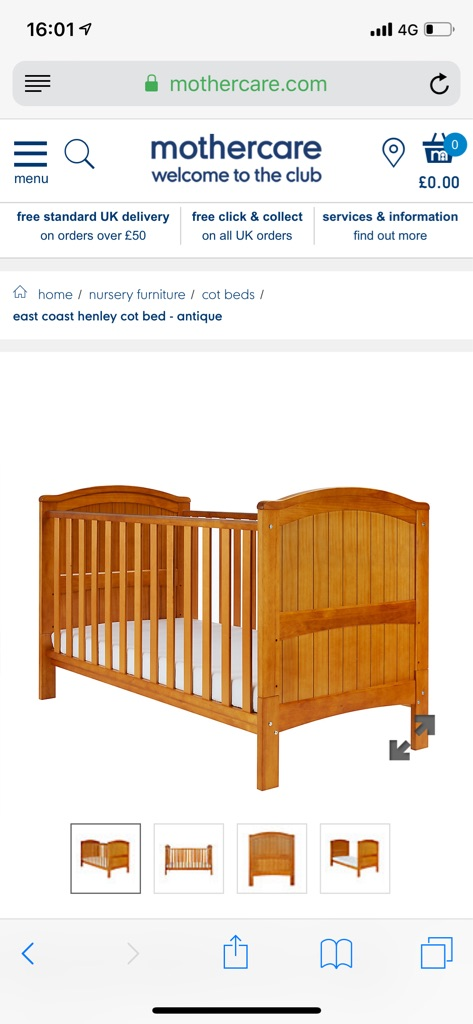 Brand new Mothercare Henley Antique Pine Cotbed