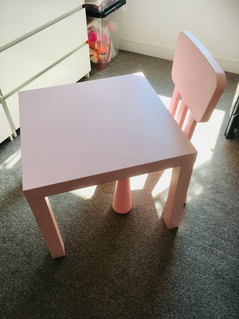 Ikea pink chair and table.