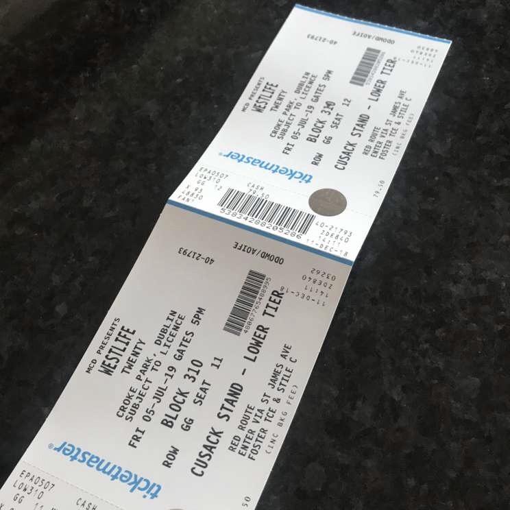 2 Westlife Concert tickets for Sale