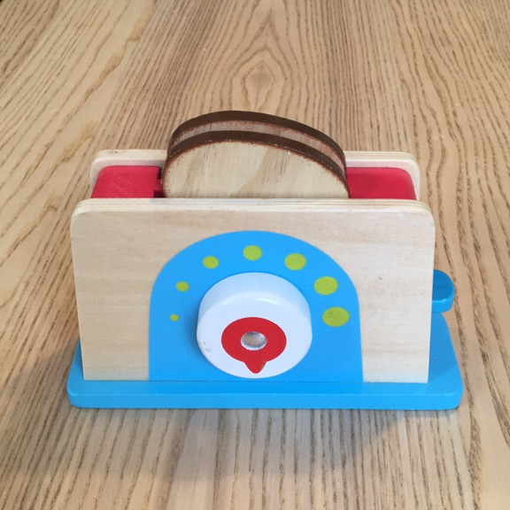 Toy wooden toaster