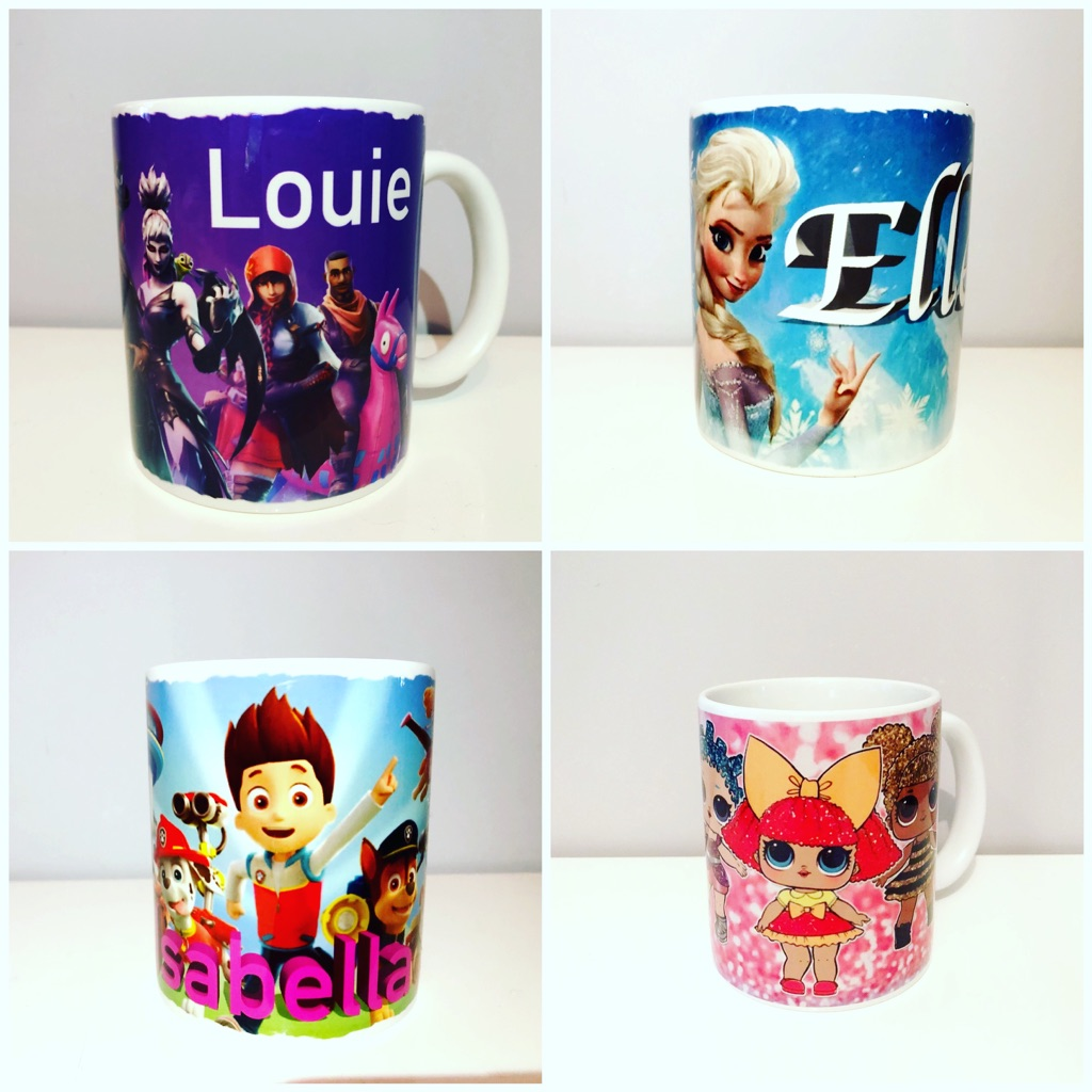 Personalised mugs. You can add your own photo, name and text