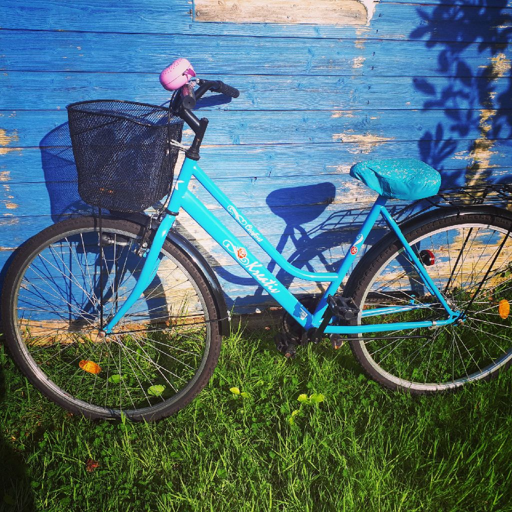 Ladies vintage bike with strawberry bell