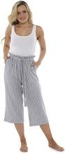 City comfort ladies paper bag waist 3/4 length summer trousers in linen