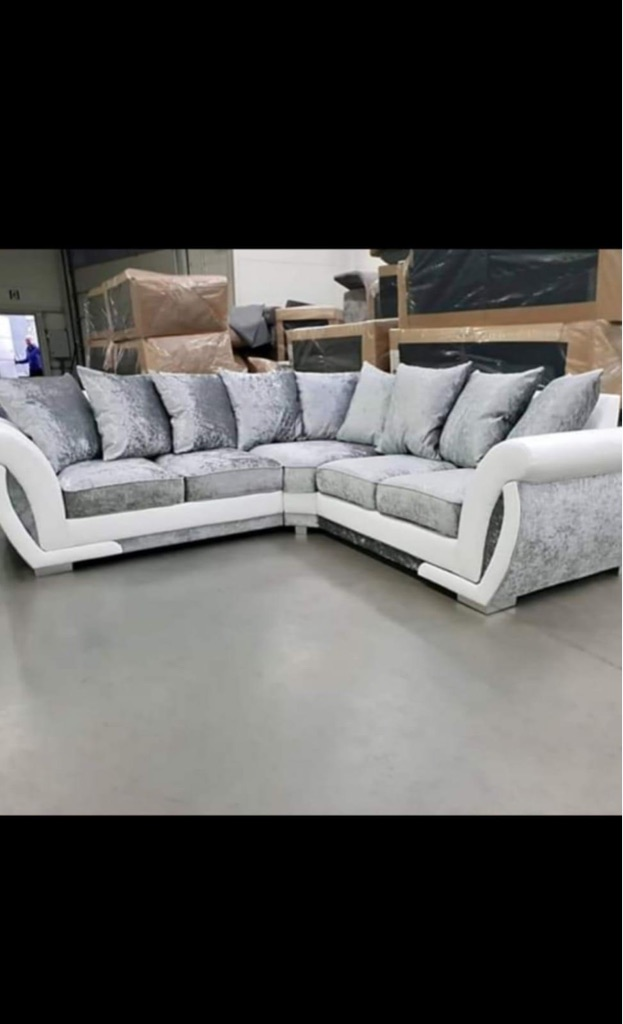 Brand new Shannon leather and fabric corner sofa