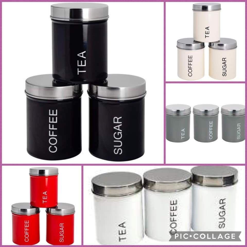 Tea, coffee, sugar canisters
