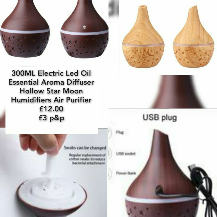 300ML Electric Led Oil Essential Aroma Diffuser Hollow Star Moon Humidifiers Air Purifier