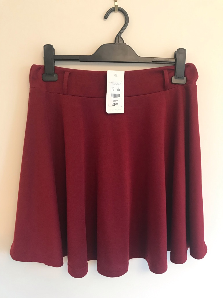 New look red skirt, size 12.