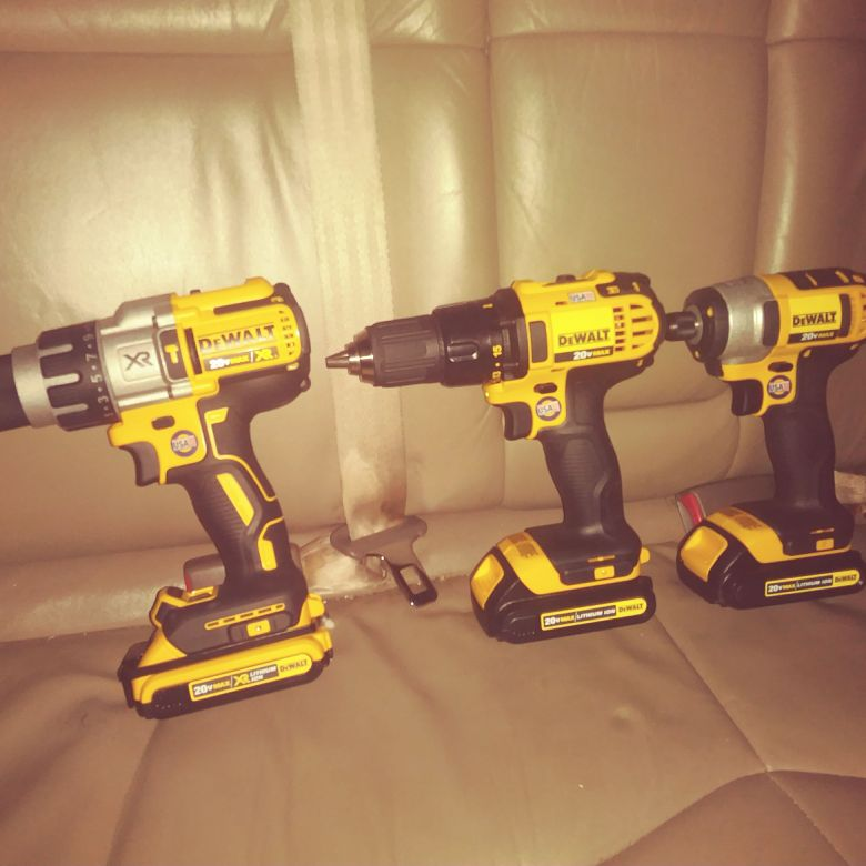 DeWALT drills 1 XR 1 Impact and 1 Regular drill