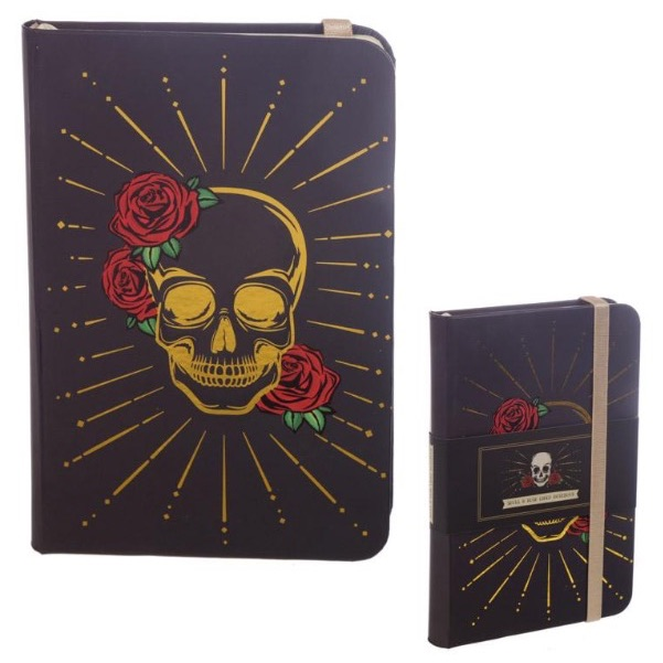 Black and gold skull notebook