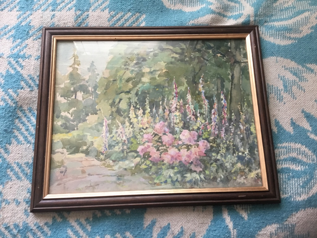 Garden at berkhamsted Watercolour painting signed William Stewart 1823 1906