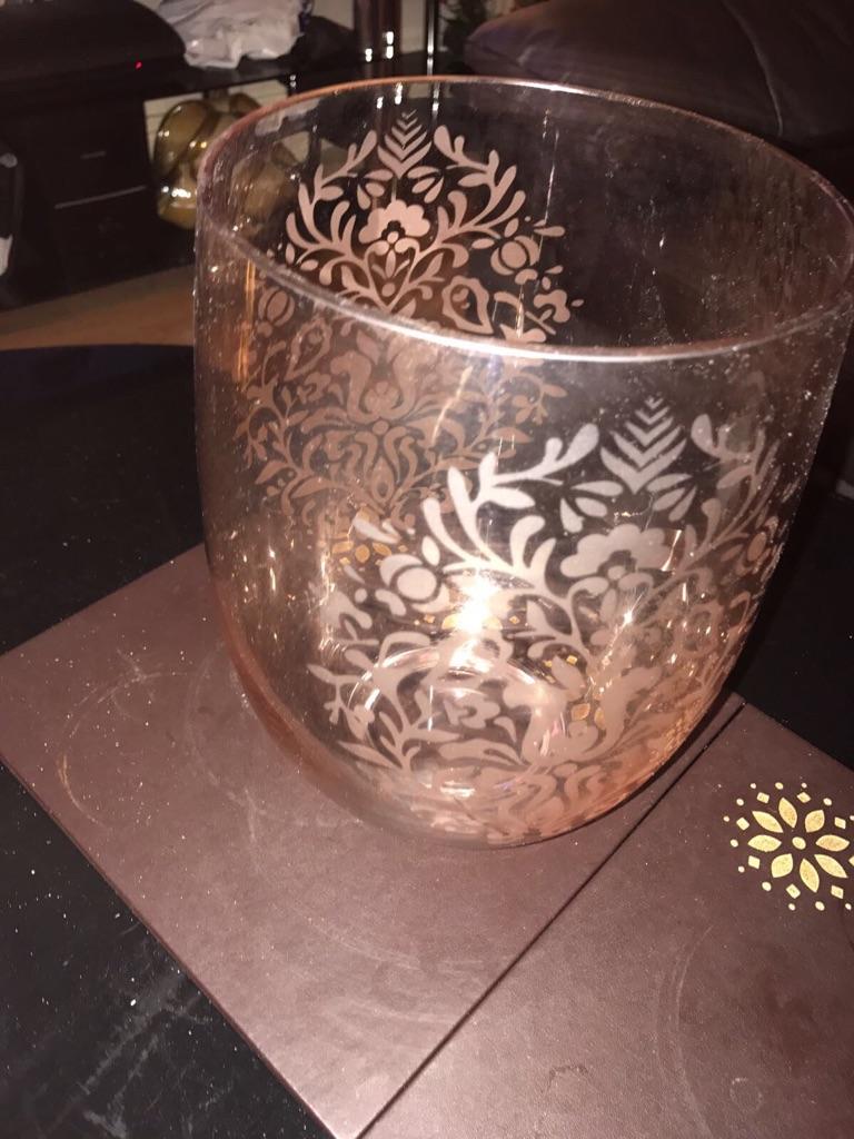Glass crystal vase pink flower pattern
