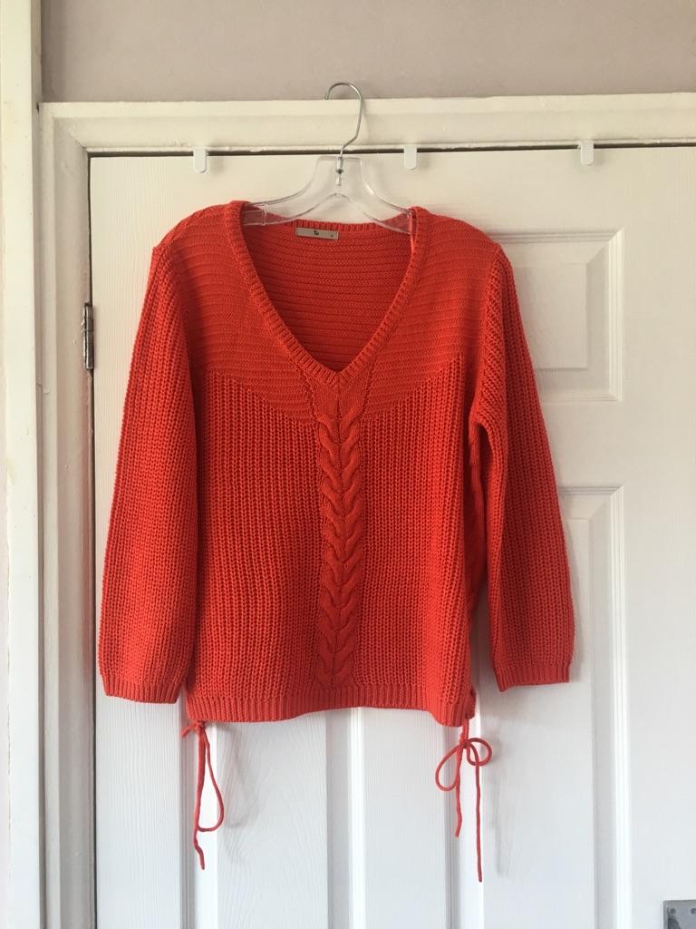 Ladies Orange v Neck Jumper New Size 14