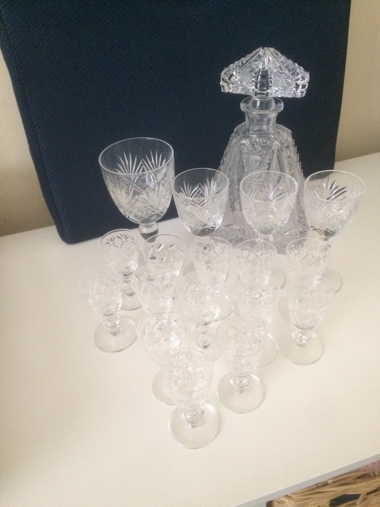 Cut glass 1960's decanter and crystal cut glasses