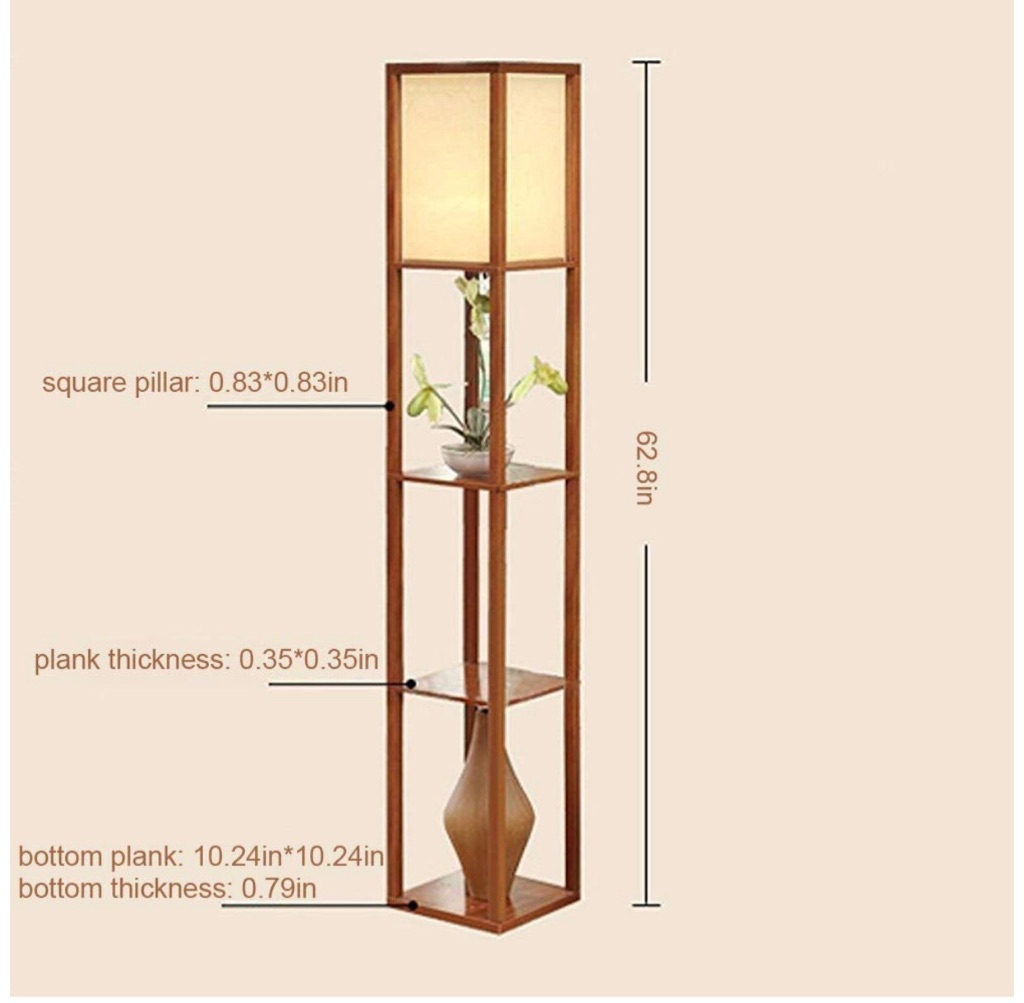 Indoor Lighting 1.6m Wood Floor Lamp with Shelves (Brown with Bulb)