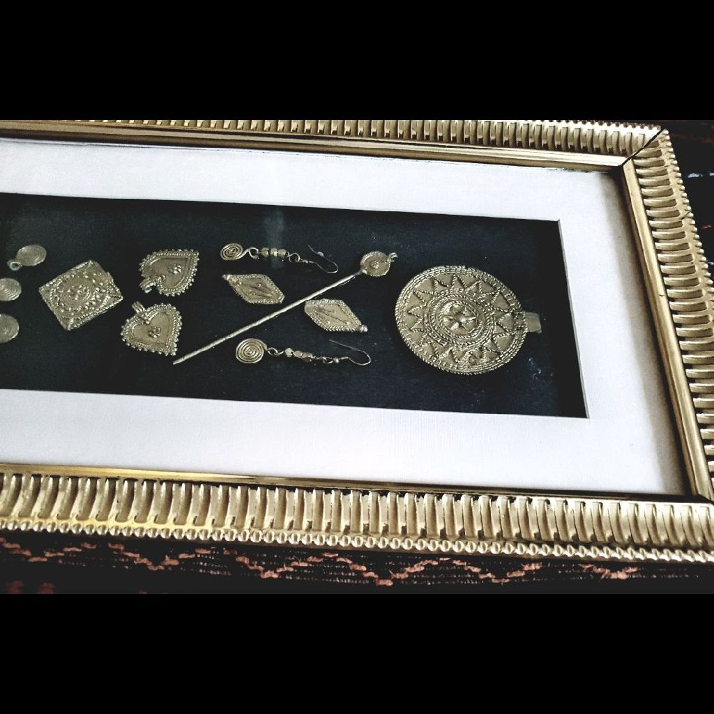 engraving brass deco ornaments in golden frame