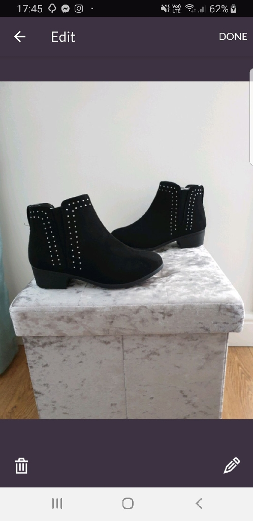 Ladies black suede ankle boot ( brand new )