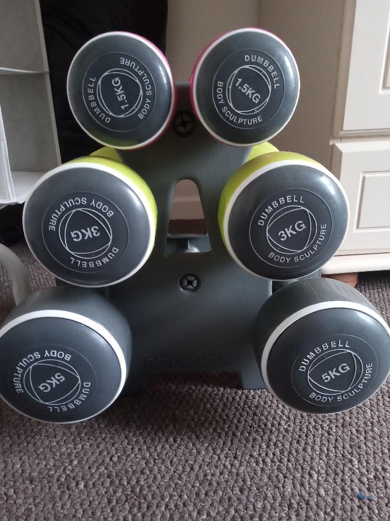 Weight set with storage tree