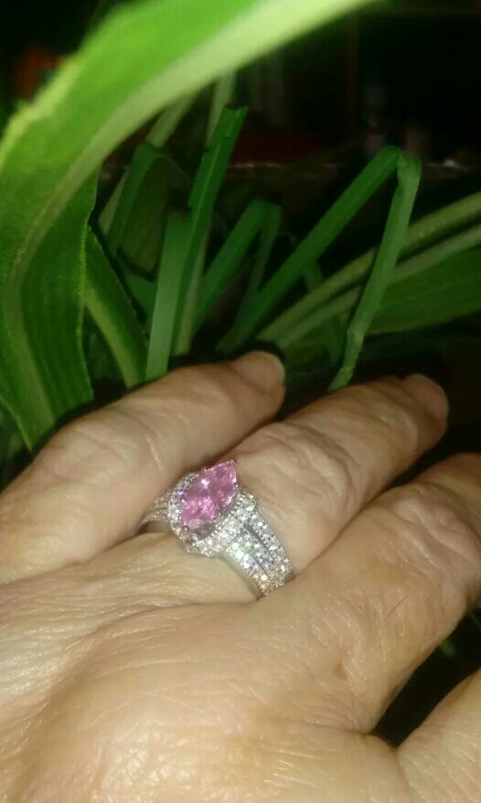 Sterling Silver Pink Marquise Sapphire sz 7