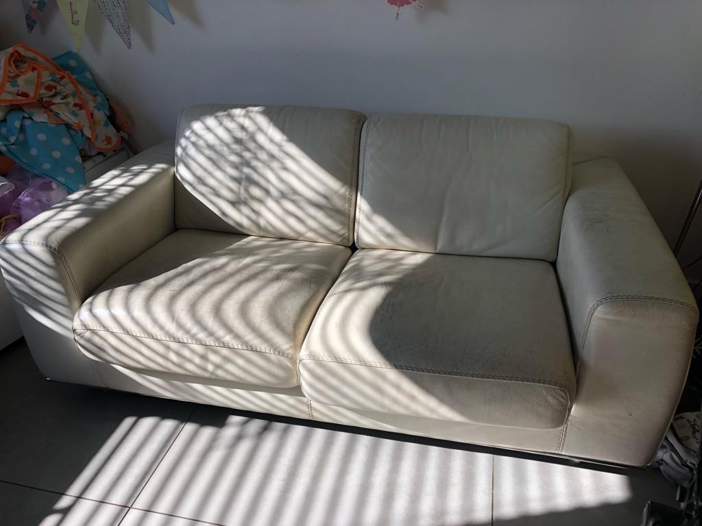 2 seater sofa leather, cream