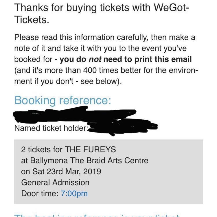 Two Tickets for the Fureys Sat 23 March 2019