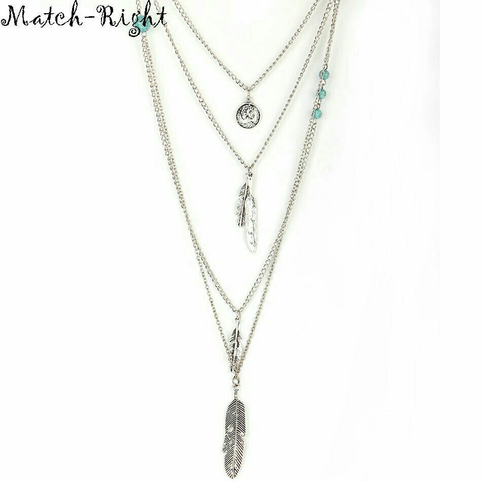 Silvertone 4 Layer Chain Necklace w/Feather Charms