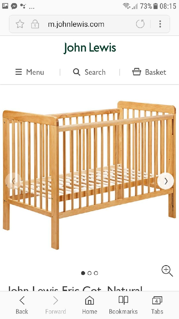 Immaculate John lewis cot and premium mattress only slept in a few times