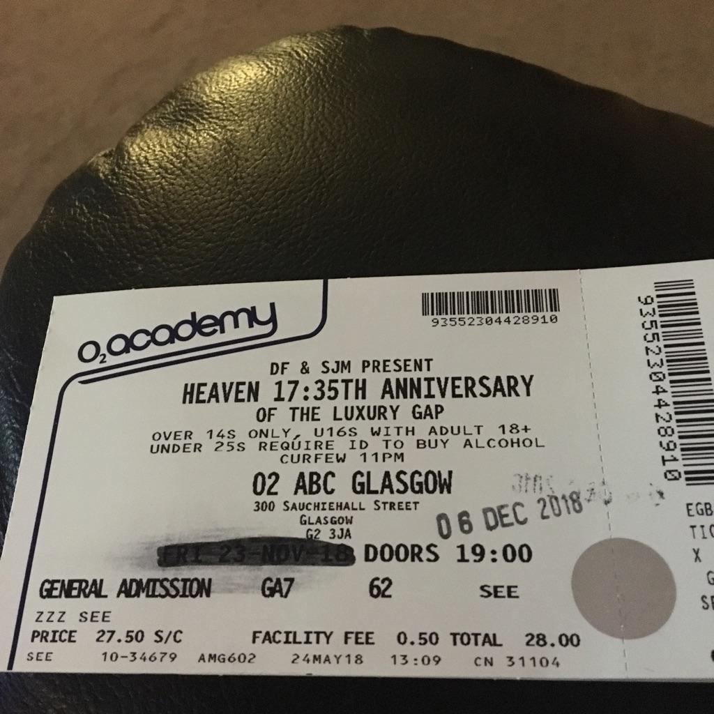 2 heaven 17 concert tickets 6th Dec 2018