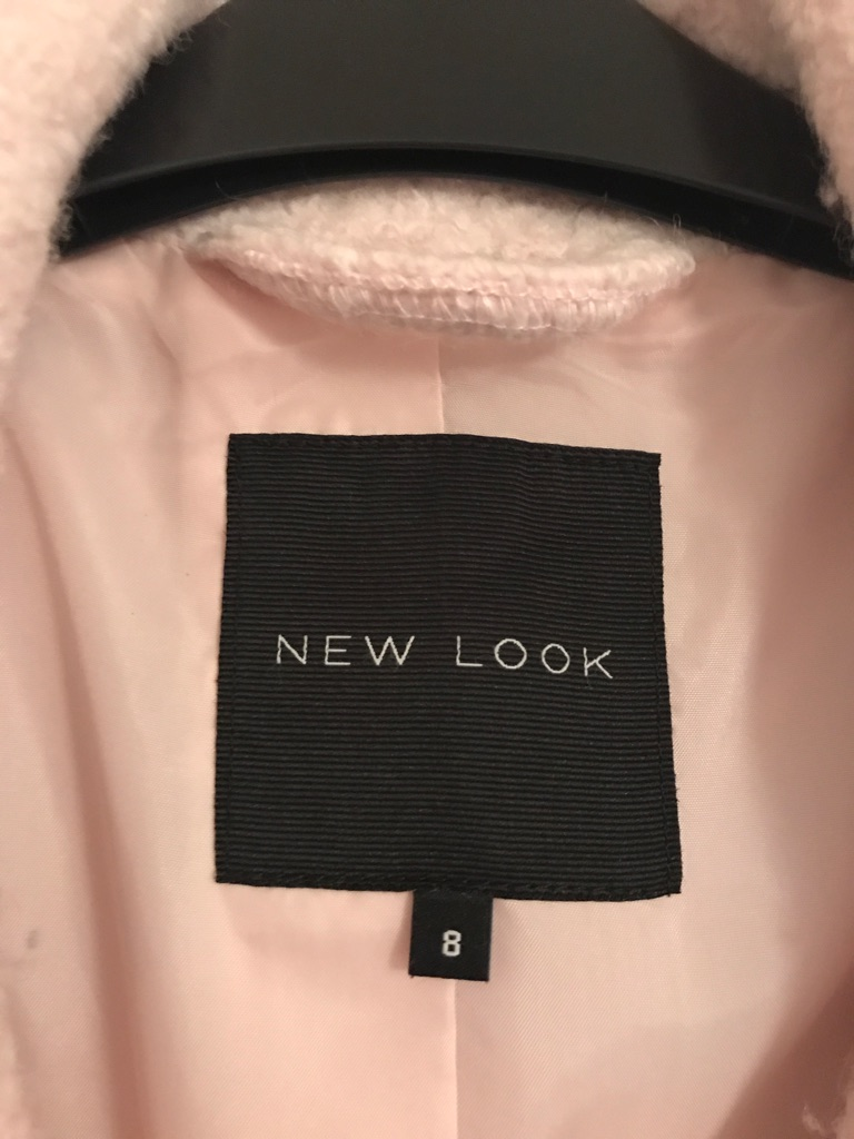 Pink new look size 8 wool coat