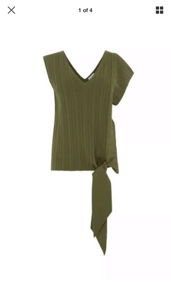 Warehouse Ribbed Khaki Top Size UK 8 NEW WITH TAGS RRP £42
