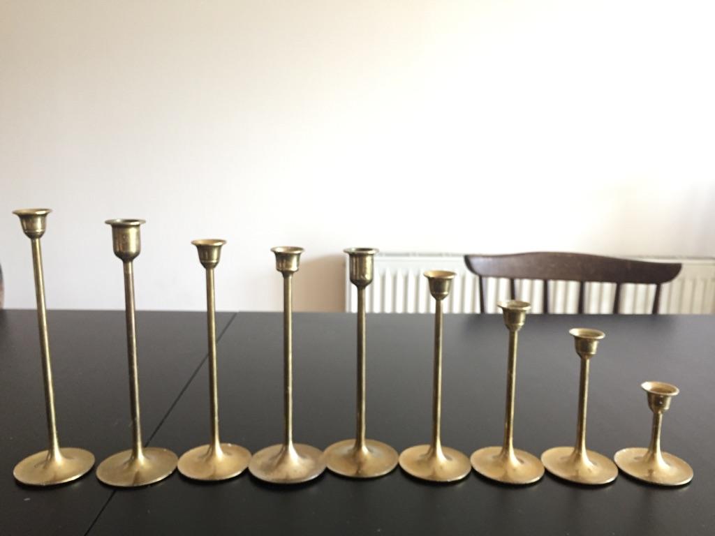 Vintage solid brass candleholders
