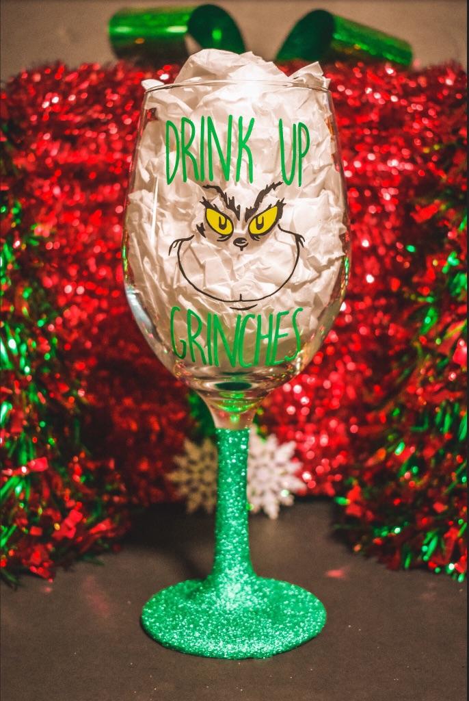 Custom Made Grinch Wine Glass