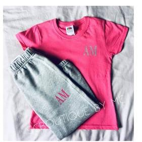 Children's personalised initial t-shirt and joggers set