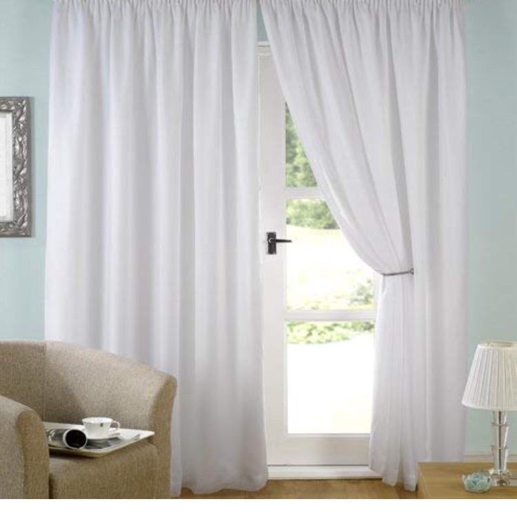White lined voile curtains pencil pleat