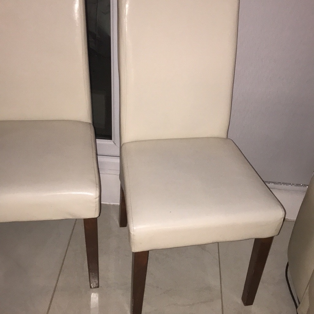 4x Ivory faux leather chairs