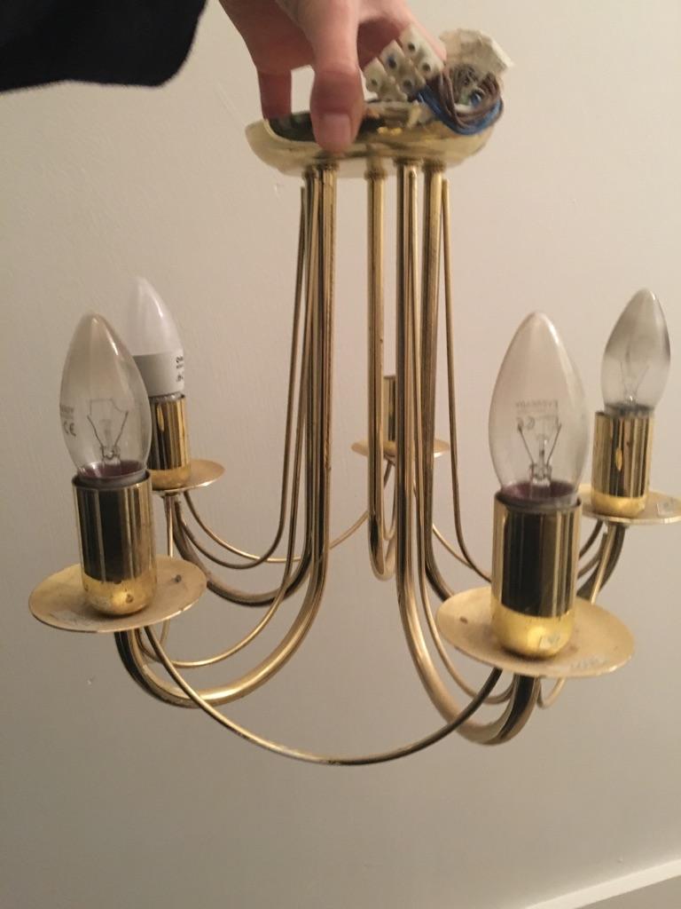 Set of 3 gold ceiling lights