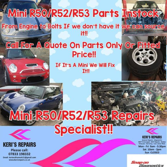 Mini cooper/one r50 parts avilable