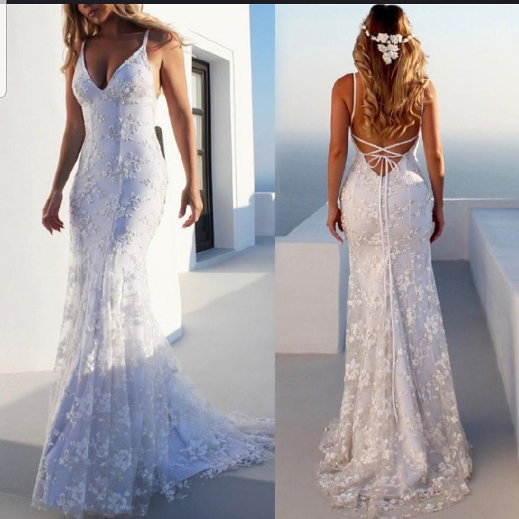 Brand new lace white light summer wedding Dress Size S M L XL