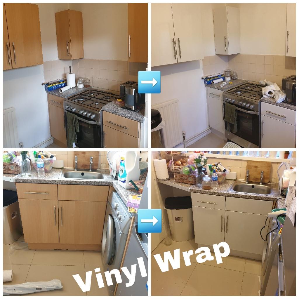Vinyl Wrap Kitchen Cupboards