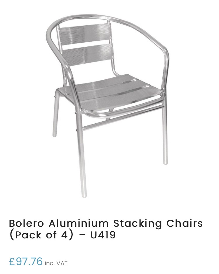 **Free** 2 Bolero aluminium stacking chairs