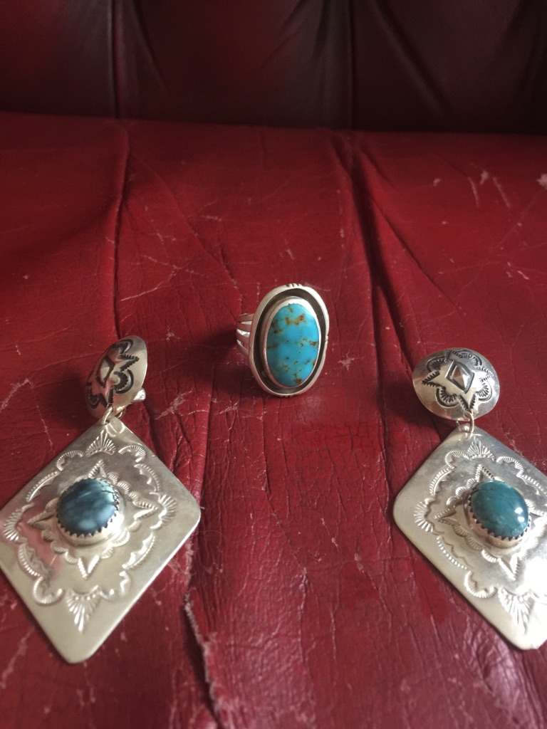 Genuine Original Stamped Silver Ring And Earring Set.clip On Ear Rings.genuine Toqouise Stones.