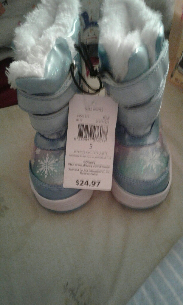 Girls size 5 frozen winter boots