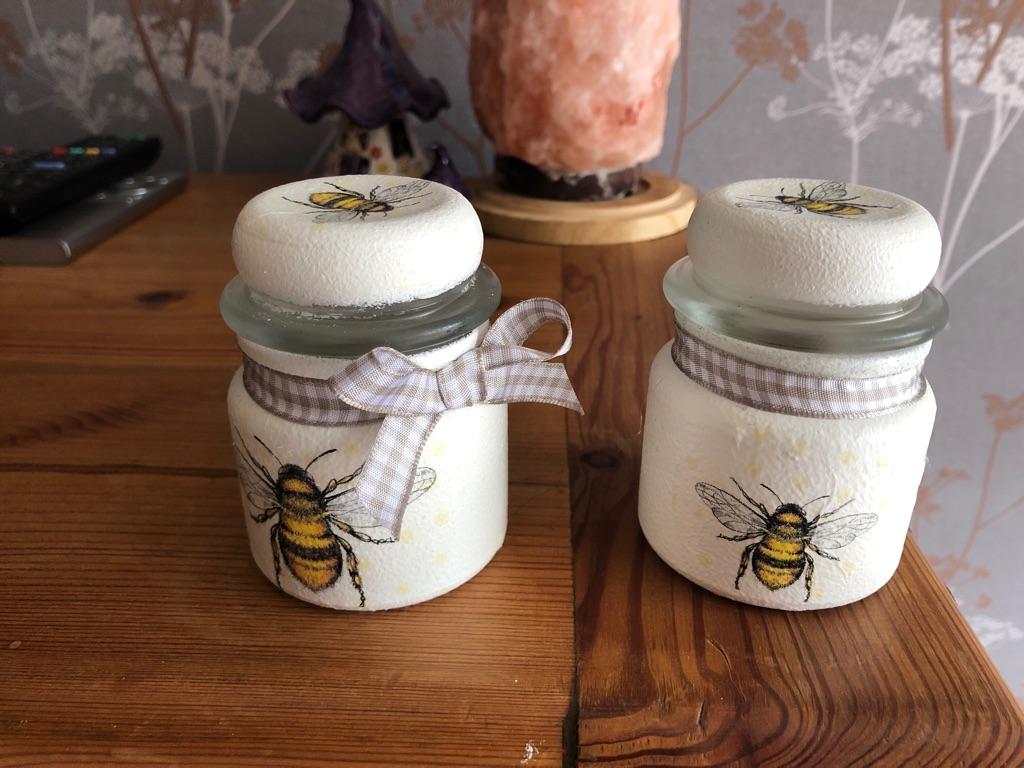 Shabby chic glass jars (small)