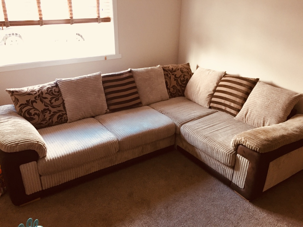 Corner couch, large swivel chair & footstool